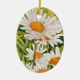 Margaritas blancas adorno de cerámica