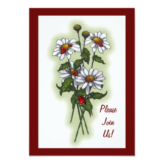 Margaritas con las mariquitas, mariquitas: Flores, Invitación 12,7 X 17,8 Cm