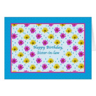 Margaritas del cumpleaños de la cuñada rosadas y tarjeton
