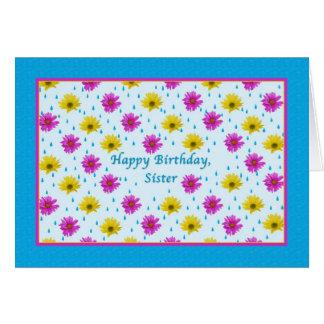 Margaritas del cumpleaños, de la hermana, rosadas  tarjeta de felicitación