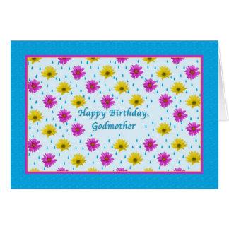 Margaritas del cumpleaños de la madrina rosadas tarjetas