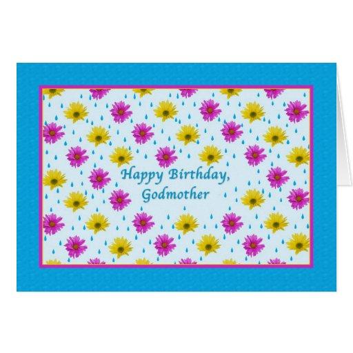 Margaritas del cumpleaños, de la madrina, rosadas  tarjetas