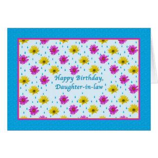 Margaritas del cumpleaños, de la nuera, rosadas y  tarjeta de felicitación