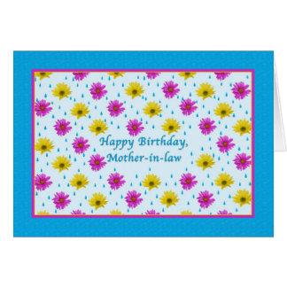 Margaritas del cumpleaños, de la suegra, rosadas y tarjeta de felicitación