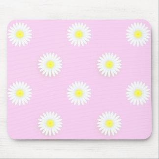 """Margaritas del """"flower power"""": Rosado-Yel-Blanco Alfombrilla De Ratón"""