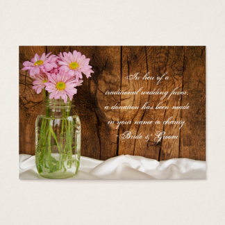 Margaritas del rosa del tarro de albañil que casan tarjeta de negocios