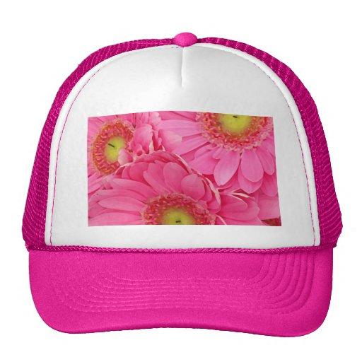 Margaritas rosadas de Gerber Gorros Bordados