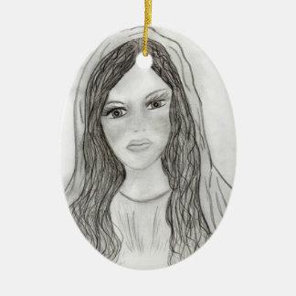 Maria agradable adorno ovalado de cerámica