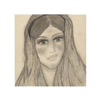 Maria apacible impresión en madera