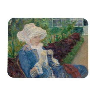 Maria Cassat- Lydia Crocheting en el jardín Imán Flexible