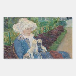 Maria Cassat- Lydia Crocheting en el jardín Pegatina Rectangular