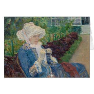 Maria Cassat- Lydia Crocheting en el jardín Tarjeta De Felicitación