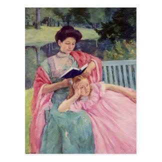 Maria Cassatt- Auguste que lee a su hija Postal
