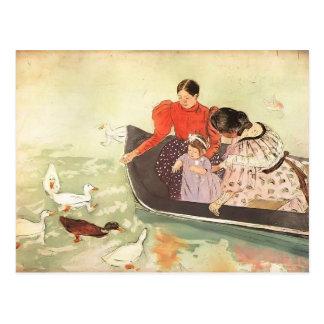 Maria Cassatt- que alimenta los patos Postal