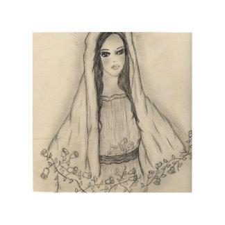 Maria con los rosas impresión en madera