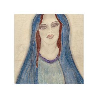 Maria en azul impresión en madera