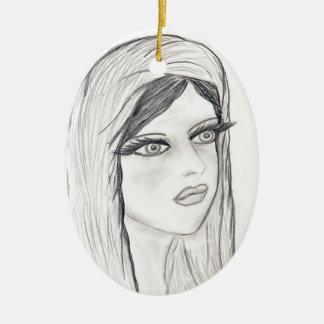Maria radiante adorno ovalado de cerámica