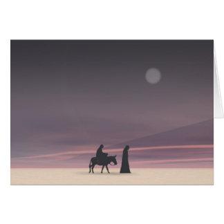 Maria y José en claro de luna Tarjeta De Felicitación