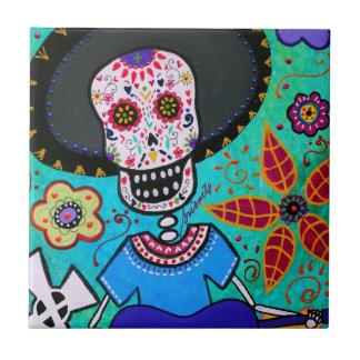 Mariachi de Dia de los Muertos Señor Azulejo Cuadrado Pequeño
