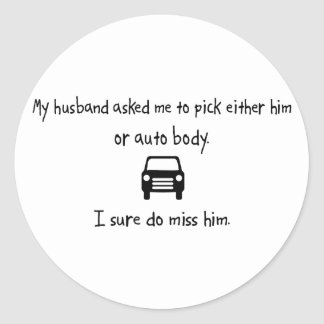Marido de la selección o cuerpo auto pegatina redonda