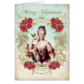 Marie Antoinette Bird Red Roses Christmas Card Tarjeta De Felicitación