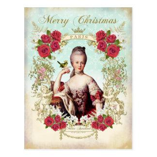 Marie Antoinette Bird Red Roses Christmas Postcard Postal