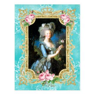 Marie Antoinette Portrait Blue Damask Postcard Postal