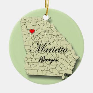 Marietta, Georgia. Mapa, ornamentos del navidad Adorno Navideño Redondo De Cerámica