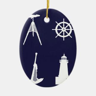 Marina de guerra blanca, rueda, timón, ancla en adorno ovalado de cerámica