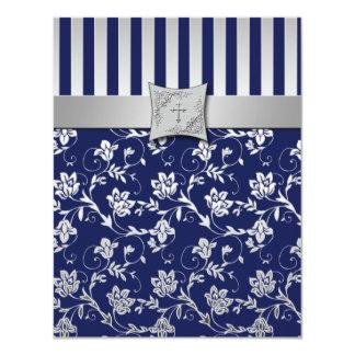 Marina de guerra cristiana y tarjeta floral de invitación 10,8 x 13,9 cm