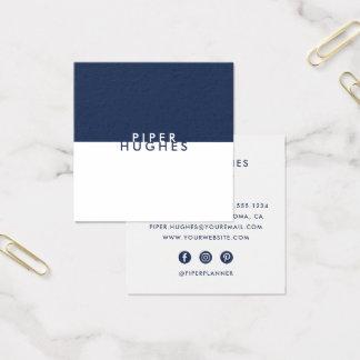 Marina de guerra cuadrada minimalista moderna de tarjeta de visita cuadrada