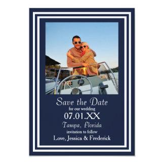 Marina de guerra doble náutica - ahorre la fecha invitación 12,7 x 17,8 cm