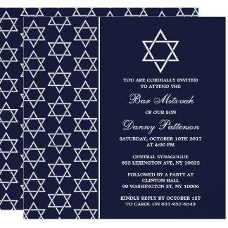 Marina de guerra elegante y estrella judía blanca invitación 13,3 cm x 13,3cm