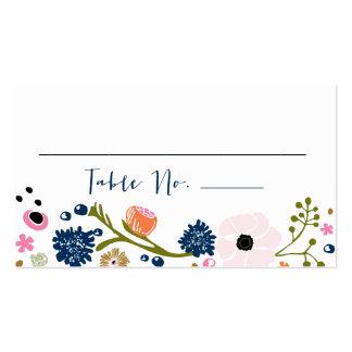 Marina de guerra floral de la tarjeta de la tabla tarjetas de visita