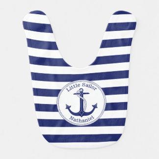 Marina de guerra náutica del ancla y muchacho baberos para bebé