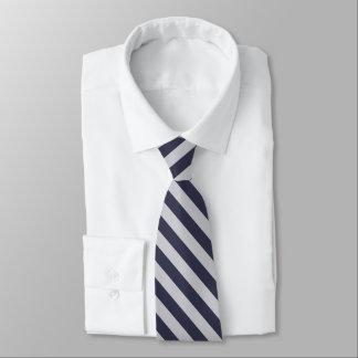 Marina de guerra oscura y diagonal blanca rayadas corbatas personalizadas