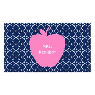 Marina de guerra rosada Quatrefoil de Apple Tarjetas De Visita