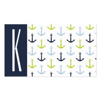 Marina de guerra, verde lima, y anclas náuticas de tarjetas de visita