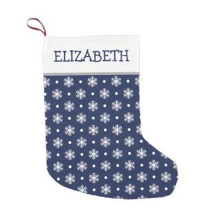 Marina de guerra y copos de nieve personalizados calcetín navideño pequeño