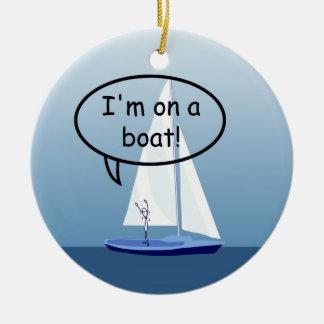 Marinero del velero en un ornamento de encargo ornamentos de navidad