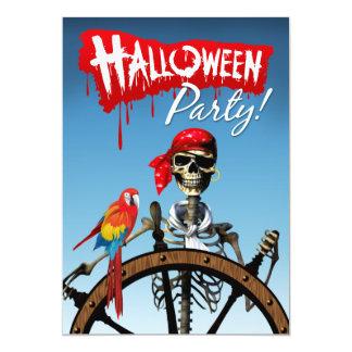 Marinero esquelético del pirata con el fiesta de invitación 12,7 x 17,8 cm