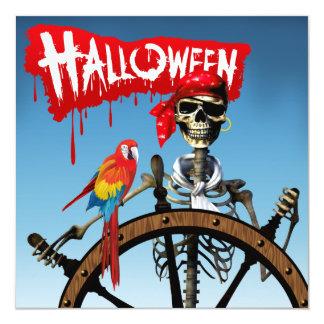 Marinero esquelético del pirata con el fiesta de invitación 13,3 cm x 13,3cm