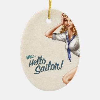 """Marinero modelo del vintage original """"hola!"""" ornaments para arbol de navidad"""