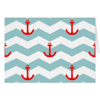 Marinero o modelo náutico en la tira blanca y azul tarjeta de felicitación