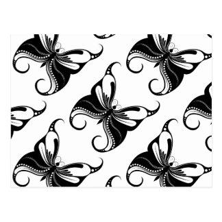 Mariposa adornada blanco y negro postales