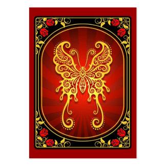 Mariposa amarilla del vintage y roja delicada plantillas de tarjeta de negocio