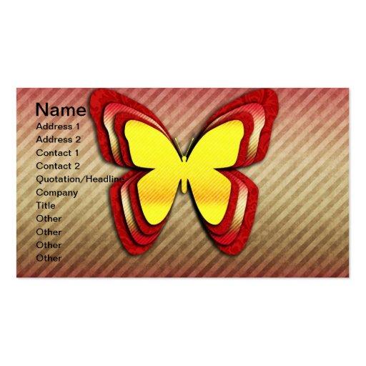 Mariposa amarilla y roja brillante tarjeta de visita