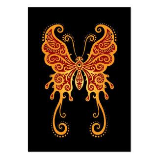 Mariposa amarilla y roja compleja en negro tarjetas de visita