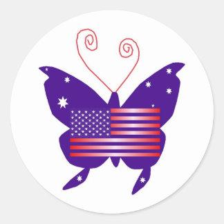 Mariposa americana de la diva pegatina redonda