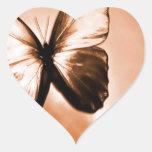 Mariposa animal abstracta Brown Calcomania Corazon Personalizadas